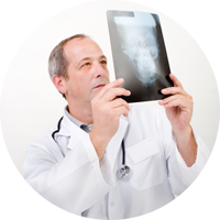 Doctor holding an x-ray image